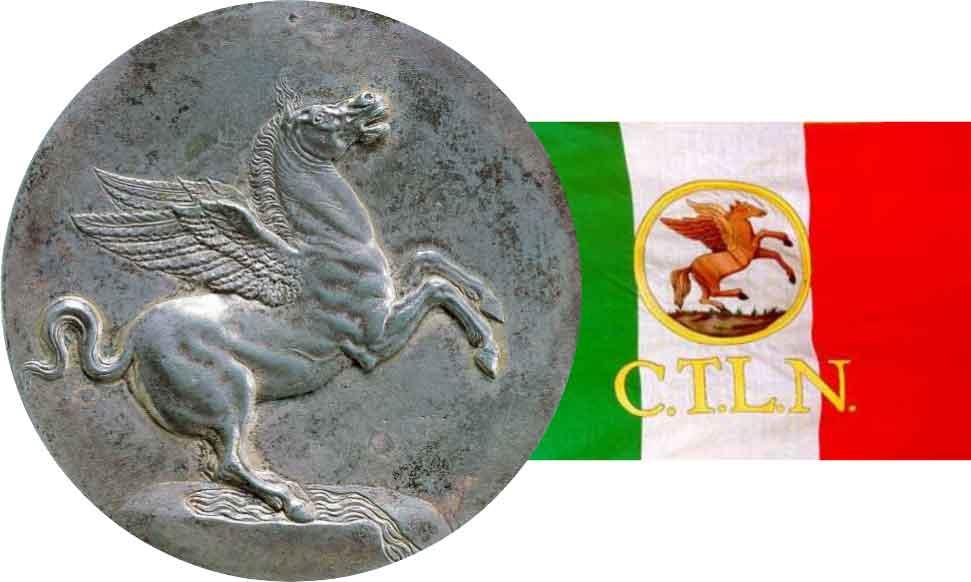 A sinistra, moneta, Benvenuto Cellini, 1537 moneta in onore del cardinale Pietro Bembo (Museo Nazionale del Bargello, Firenze); a destra, bandiera del CTLN Comitato toscano di Liberazione nazionale