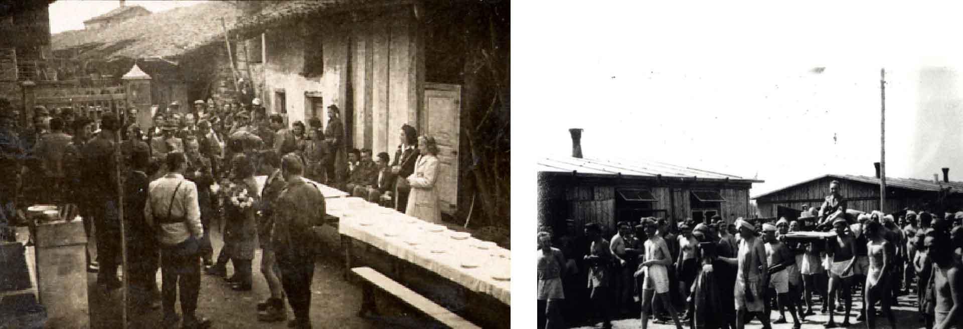 Da sinistra, matrimonio partigiano; a destra, un internato è portato in trionfo dagli altri detenuti dopo essersi ripetutamente rifiutato di lavorare