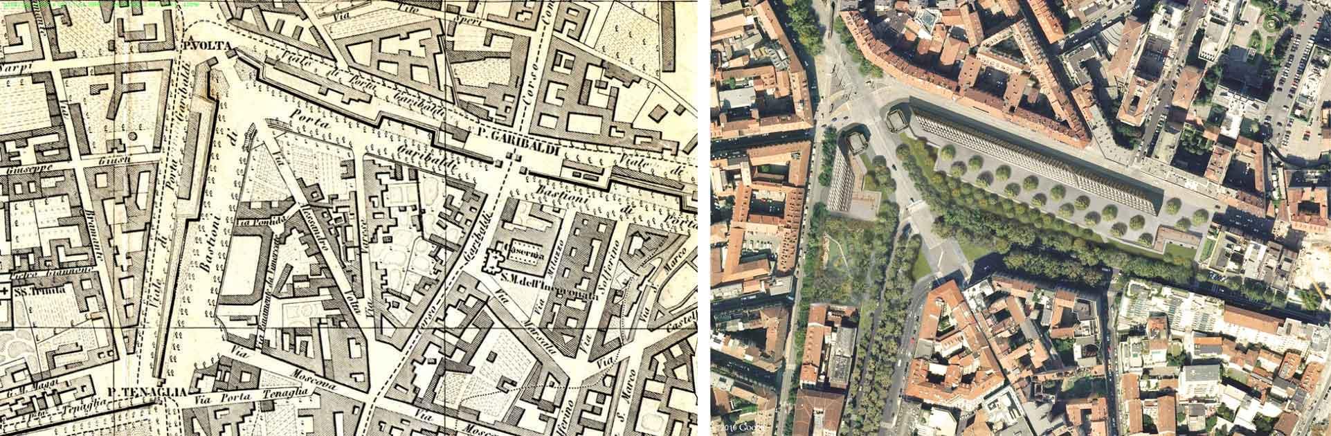 A sinistra, Milano, piantina del 1883; accanto aerial view © Herzog & de Meuron © 2019 Google Image © Landsat / Copernicus