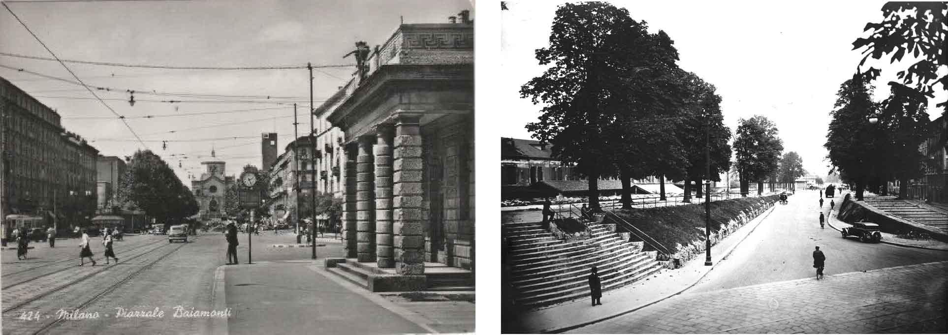Da sinistra, una cartolina storica di piazzale Baiamonti e le mura spagnole di Milano verso Porta Volta all'inizio del XX secolo