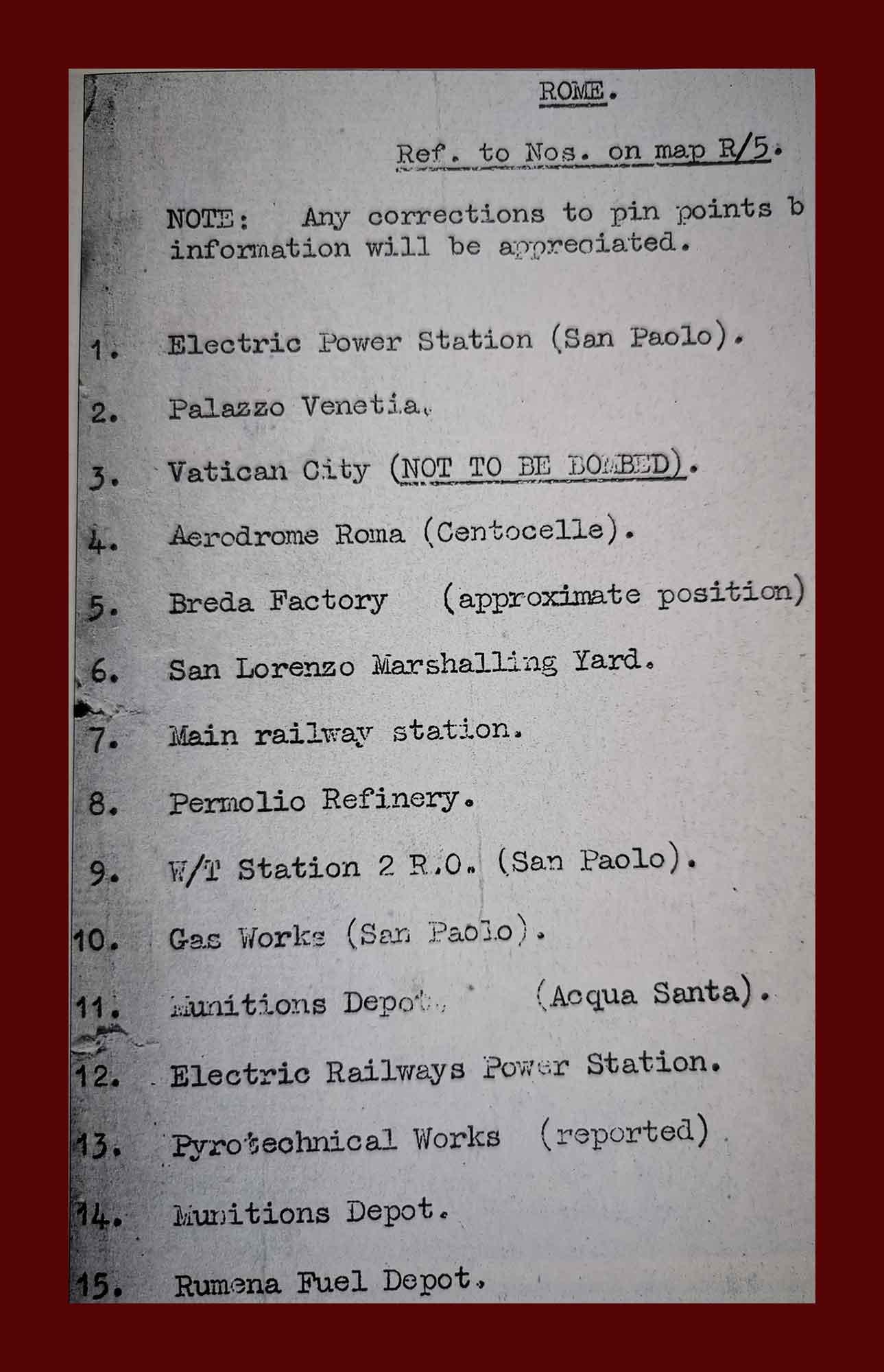 Istruzioni per i piloti dei bombardieri Usa