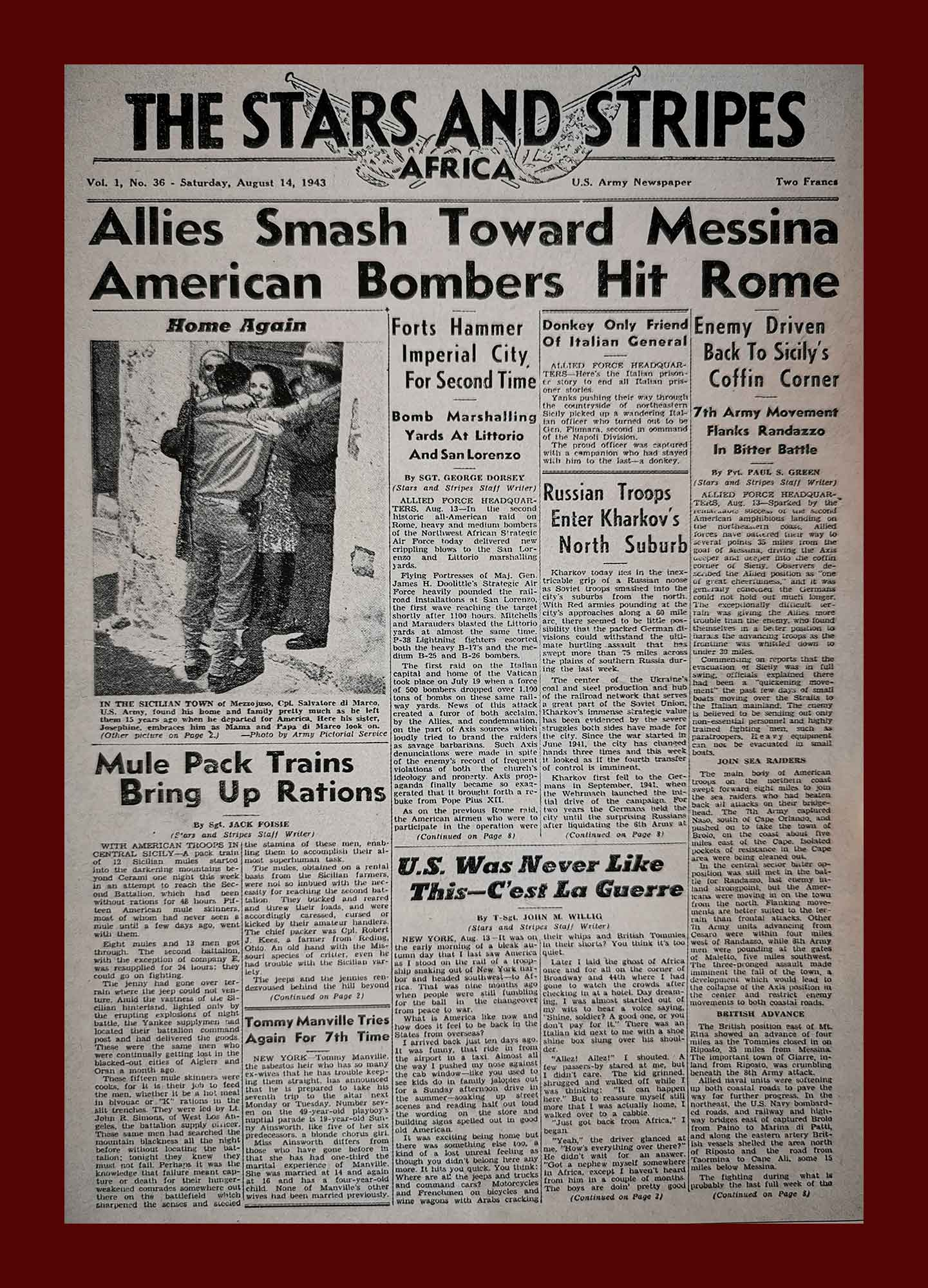 The Stars and Stripes, 14 agosto 1943